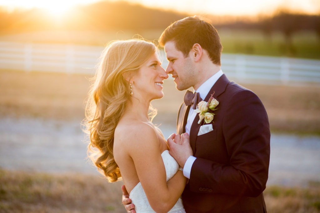 sunset wedding couple